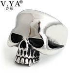 V.YA 925 Silver Male Men Rings Vintage Adjustable Size Skull Big Ring Punk Rock Skeletons Mens Thai Silver <b>Jewelry</b>