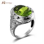 Luxury British Kate Princess Diana William Engagement Wedding Olive Created Peridot Ring Pure Solid 925 Sterling <b>Silver</b> <b>Jewelry</b>