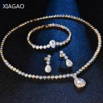 XIAGAO Gorgeous Luxury <b>Jewelry</b> set <b>Necklace</b> Earrings Bracelet for Women Clear Crystal Gold Color Wedding Gift Pure Bijoux Femme