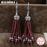 BALMORA 925 Sterling <b>Silver</b> Red Garnet Tassel Dangle Earrings for Women Mother Gift Ethnic Earrings <b>Jewelry</b> Brincos HSJ30179