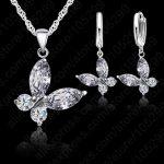 JEXXI Romantic Butterfly Shape Fashion 925 Sterling <b>Silver</b> Pendant Necklace Hoop Earrings Set For Women Bridal Wedding <b>Jewelry</b>