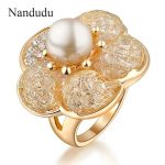 Nandudu Flower Pearl Ring Charming Elegant Fashion Female Women Girl Wedding Party Rings <b>Accessories</b> <b>Jewelry</b> Gift R116