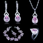Vintage Russian Style Cubic Zirconia 925 Stamp <b>Silver</b> Color Jewelry 4pcs Pink Crystal Stone Sets For Women <b>Bracelets</b> Sets
