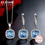 ELESHE 2017 New Brand 925 Sterling <b>Silver</b> Jewelry Sets Natural Blue Crystal Earrings Necklace Pendant Wedding Necklace Women