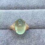 Natural green prehnite gem Ring Natural gemstone Ring S925 <b>sterling</b> <b>silver</b> trendy big luxurious round women girl gift <b>Jewelry</b>