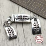 S925 <b>sterling</b> <b>silver</b> watch chain Personality retro punk style Crusader spend arrogance rough bracelet <b>jewelry</b> Send gift to lover