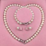 Sinya Natural Freshwater Pearls Strand Necklace Bracelet <b>Earring</b> Set heart design 925 sterling <b>silver</b> clasp for Mum women lover