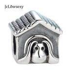 100% Authentic 925 Sterling Silver <b>Antique</b> European Dog House Beads Charms Fit Pandora Women Bracelets & Bangles DIY <b>Jewelry</b>