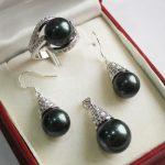 Prett Lovely Women's Wedding 1Set AAA 12mm Black Shell Pearl Pendant Necklace Earrings Ring Set C06 5.23 5.23