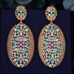 GODK 62mm Luxury Exclusive Multicolor Cubic Zirconia African <b>Wedding</b> Women Dress Earring Fashion <b>Jewelry</b>