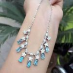 Natural blue topaz stone Necklace Natural Gemstone Pendant Necklace 925 sliver trendy Luxury Square snowflake women <b>Jewelry</b>