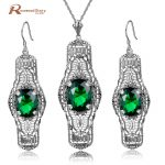 Brand Vintage Jewelry Sets Hollow Out Oval Shape Green CZ Stones Long Pendant Jewelry 925 <b>Silver</b> <b>Earrings</b> Necklace Set For Women