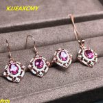 KJJEAXCMY Fine jewelry 925 sterling <b>silver</b> inlaid natural coated powder Topaz female models 3 sets of live mouth