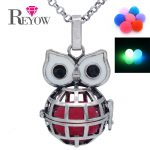 Glow Beads <b>Antique</b> Silver Globe Owl Cage Locket Chain Necklace For Aromatherapy Essential Oil Fragrance Diffuser <b>Jewelry</b>