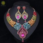 Fashion Bridal <b>Jewelry</b> Sets Wedding <b>Necklace</b> Earring For Brides Party Accessories Gold Color Crystal Indian Women Decoration