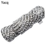 Yacq Double Full Finger Knuckle Armor Long Ring Crystal Punk <b>Jewelry</b> Gift Women Her <b>Antique</b> Silver Gold Color RM02 Dropshipping