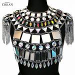 Chran Irridescent Mirror Tank Top EDM Party Fringe Chain Shoulder <b>Necklace</b> Rave Bra Bralete Festival Costume Wear <b>Jewelry</b> CRS418