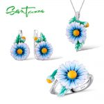 Santuzza <b>Jewelry</b> Set HANDMADE Enamel Blue Flower CZ Stones Ring Earrings Pendent Necklace 925 <b>Sterling</b> <b>Silver</b> Women <b>Jewelry</b> Set