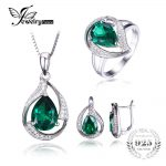 Jewepalace Water Drop Created Emerald <b>Jewelry</b> Set 925 <b>Sterling</b> <b>Silver</b> Ring Necklace Pendant Earring Women Bridal <b>Jewelry</b> Set