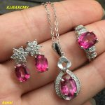 KJJEAXCMY boutique jewels 925 <b>silver</b> inlay natural Pink Topaz Ring Pendant <b>Earrings</b> 3 suit jewelry necklace sent sdmj