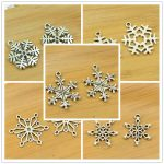 DIY snow/snowflake shape alloy charm pendant christmas decoration <b>jewelry</b> making accessories findings <b>antique</b> silver vintage hot