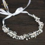 TREAZY High Quality Bridal Floral Headband Freshwater Pearl Beads Wedding Hair <b>Jewelry</b> <b>Handmade</b> Crystal Women Hair Accessories