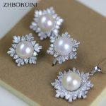 ZHBORUINI 2017 Fashion Pearl Jewelry Set Natural Pearls Snowflake 925 Sterling <b>Silver</b> <b>Necklace</b> Earrings Pendant Ring For Women