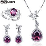 Wedding Bridal Jewelry Sets 925 Sterling <b>Silver</b> Necklace <b>Earrings</b> Ring Jewelry Set Water Drop Garnet Ring Size 6 7 8 9