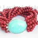 Wholesale price 16new ^^^^^^^100% natural 10row red sponge coral <b>Bracelet</b> stone