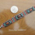BR452 Ethnic Tibetan Copper Inlaid Colorful Stone Clasp Bracelet <b>Handmade</b> Nepalese <b>Jewelry</b> 18cm Long Women Bracelet