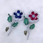 925 <b>sterling</b> <b>silver</b> with cubic zircon flower brooch pins fashion women <b>jewelry</b> for coat free shipping blue red color
