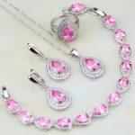Lovely Pink CZ White Australian Crystal 925 <b>Silver</b> Jewelry Sets For Women Wedding Earring/Pendant/Necklace/<b>Bracelet</b>/Ring 4PCS