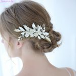 Jonnafe Silver Color Blossom Bridal Headpiece Hair <b>Jewelry</b> Hand wired Leaf Wedding Hair Comb Accessories Women Hairwear