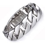 Biker Mens Groumette Chain Bracelet Silver 316L Stainless Steel Bracelets Bangles Large Heavy Motorcycle Charm <b>Jewelry</b> 20mm Wide