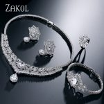 ZAKOL Luxury Zirconia Wedding <b>Jewelry</b> Sets Sliver Color <b>Necklace</b>/ Earrings/ Bracelet/ Rings Big Set For Bridal Dress FSSP218