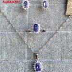 KJJEAXCMY Fine <b>jewelry</b> 925 <b>silver</b> inlaid natural color treasure Tanzanite female models <b>jewelry</b> set flawless