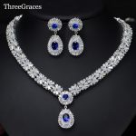 ThreeGraces Gorgeous <b>Silver</b> Color CZ Large Royal Blue Water Drop <b>Necklace</b> Earrings African Jewelry Sets For Brides JS029