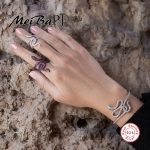 [MeiBaPJ]The European and American Snake Set with 925 Pure <b>Silver</b> AAA Zircon Ring & Bangle & Beacelet set For Women Fine Jewelry