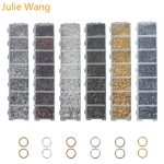 Julie Wang 1 BOX Jump Rings Lobster Buckle Set For Necklace Pendant Earrings Bracelet <b>Jewelry</b> Findings Making <b>Accessories</b>