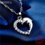 Fashion Dolphins 925 <b>Silver</b> <b>Necklace</b> Women Charm Heart 100% <b>Silver</b> Pendant <b>Necklace</b> Luxury Jewelry