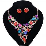 Trendy Indian Jewelery Set African Beads Crystal Necklace Earrings Bridal Sets for Brides Party Wedding Holiday <b>Accessories</b>