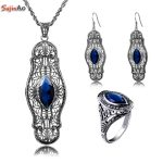 Szjinao Captivating Sapphire Real 925 Sterling <b>Silver</b> Jewelry Vintage Sets For Women Fashion Crystal Pendant <b>Earrings</b> Ring