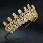 Classic Cubic Zirconia Classic Big Royal <b>Wedding</b> Bridal Gold Color Tiara Crown Women Girl Hair Accessories <b>Jewelry</b> HG1162