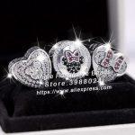 3pcs S925 Sterling Silver Minnie Mitch Heart CZ Charms <b>Jewelry</b> Set Fit DIY Bracelets Necklaces <b>Jewelry</b> <b>Making</b> Woman Gift