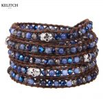 KELITCH <b>Jewelry</b> 1Pc Logo Custom Leather Wrap Bracelet Synthetic Stone Skull <b>Handmade</b> Vintage Women Bracelet Nice Package