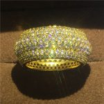 <b>Handmade</b> Engagement Wedding Band Rings for women men Full 320pcs AAAAA zircon cz Yellow Gold Filled Female Finger ring <b>Jewelry</b>