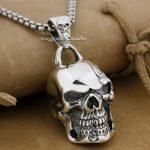Huge & Heavy Skull 925 Sterling <b>Silver</b> Mens Biker Rocker Pendant 9E008A(<b>Necklace</b> 24inch)