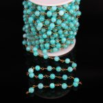 6mm,Sky Blue Malaysian Jade Round bead Rosary Chain,Light Jasper beads Link Brass Wire Wrapped Chain Bracelet Necklace <b>Making</b>