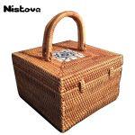 High Quality <b>Handmade</b> Straw Handbags Rattan <b>Handmade</b> <b>Jewelry</b> Box Square Storage Box Debris Box Casual Portable Rattan Box