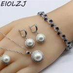 <b>Silver</b> 925 Jewelry Sets For Women Ball White Pearl Wedding Earring Sets For Bride Necklace Ring Dangle Earrings CZ <b>Bracelet</b>